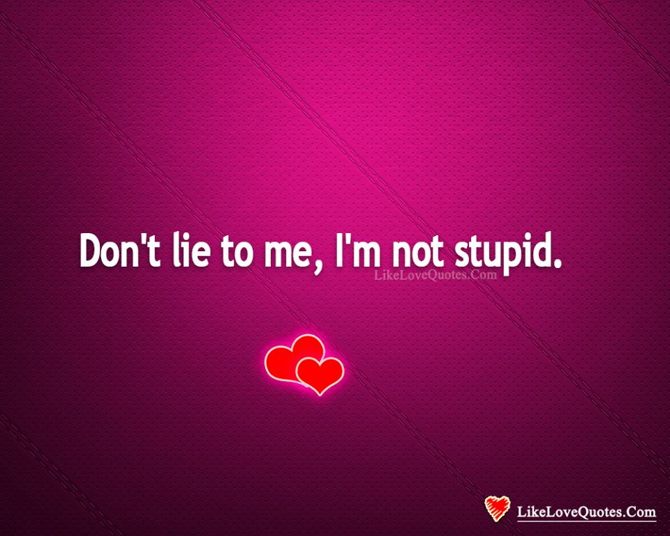 Don\'t Lie To Me, I\'m Not Stupid. - LikeLoveQuotes.com