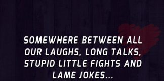 Somewhere between all our laughs, long talks, stupid little fights and lame jokes... we fell in love