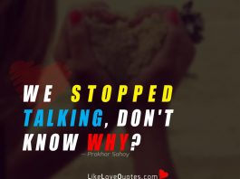 We stopped talking, don't know why