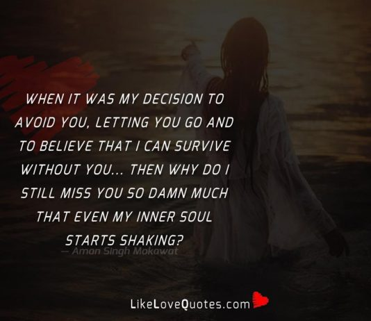 When it was my decision to avoid you, letting you go and to believe that i can survive without you... Then why do i still miss you so damn much that even my inner soul starts shaking