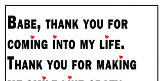 Babe Thank You For Coming Into My Life Likelovequotescom