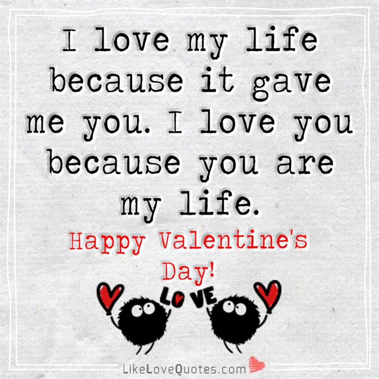 I Love My Life Because It Gave Me You Likelovequotes Com