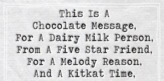 This Is A Chocolate Message For A Dairy Milk -likelovequotes