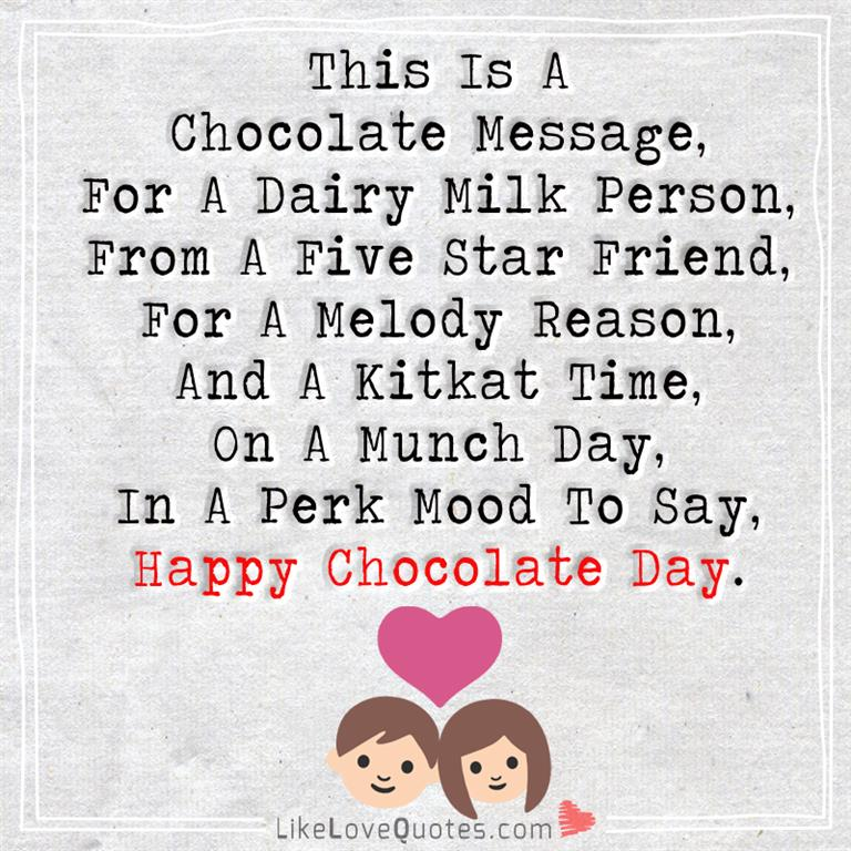 Chocolate Love Quotes Enchanting This Is A Chocolate Message For A Dairy Milk LikeLoveQuotes