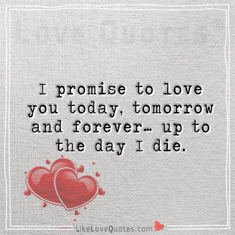 i promise to love you today forever likelovequotes com