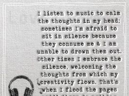 I listen to music to calm the thoughts in my head -likelovequotes.com