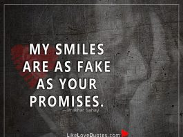 My smiles are as fake as your promises -likelovequotes